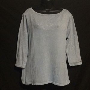 Tommy Hilfiger baby blue sweater top shimmer XL